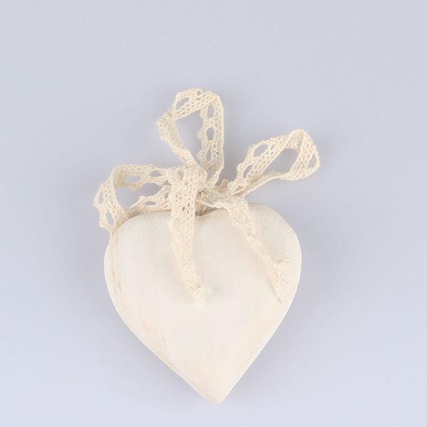 Casa de Engel Dřevěné srdce s mašlí 8 x 8cm