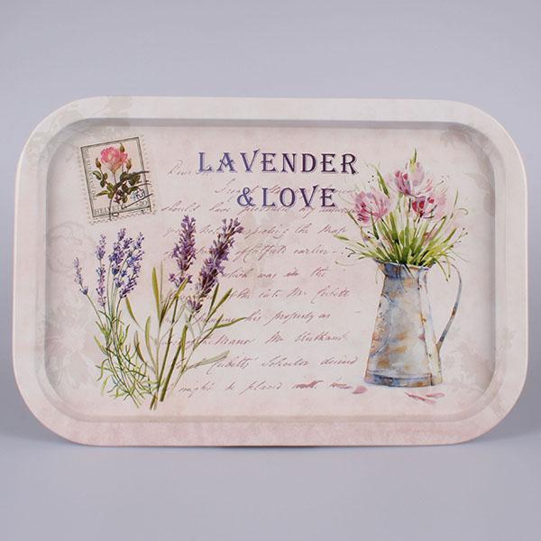 Kovový tác s motivem lavender & love 34x23cm