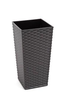 Plastový obal na květináč Finezia ratan 37cm Barva: šedá
