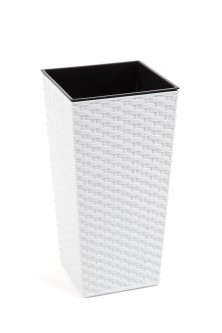 Plastový obal na květináč Finezia ratan 57cm Barva: bílá