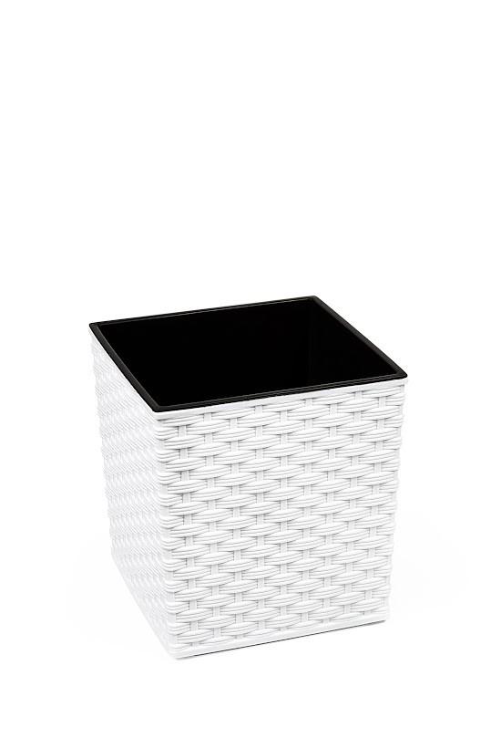 Plastový obal na květináč Juka ratan 20cm Barva: bílá