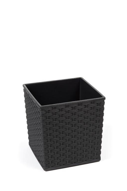 Plastový obal na květináč Juka ratan 20cm Barva: černá