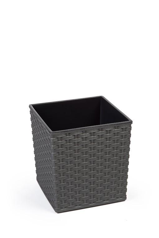 Plastový obal na květináč Juka ratan 26cm Barva: šedá