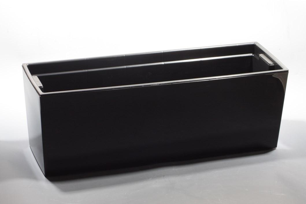 Plastový truhlík Begonie lesklý 19x56cm Barva: černá