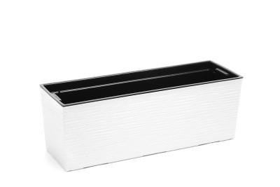Plastový truhlík Begonie vroubek 19x56cm Barva: bílá