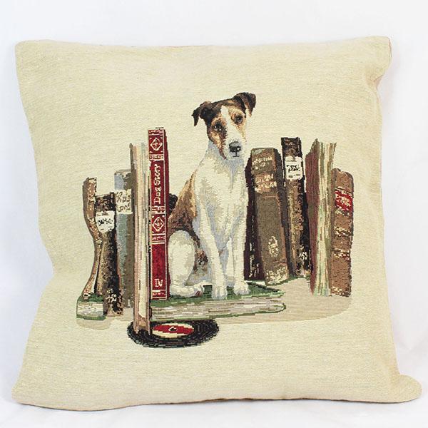 Povlak na polštář Pes a knihy 45x45cm