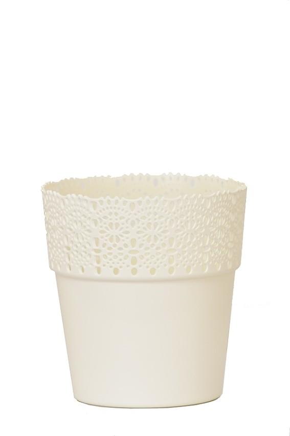 Plastový květináč Bella krajka 13x14cm Barva: smetanová