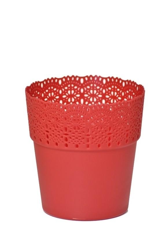 Plastový květináč Bella krajka 13x14cm Barva: červená