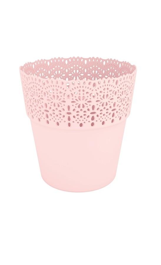 Plastový květináč Bella krajka 13x14cm Barva: růžová