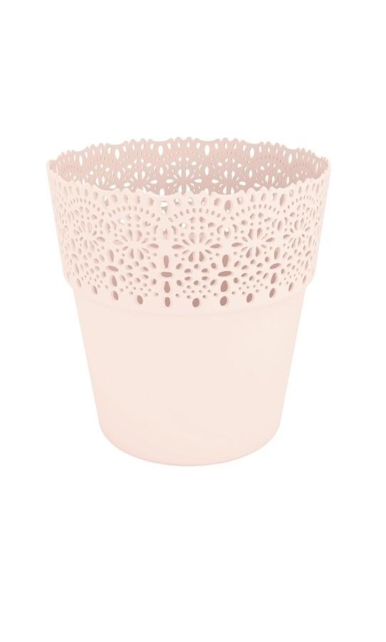 Plastový květináč Bella krajka 13x14cm Barva: bežová