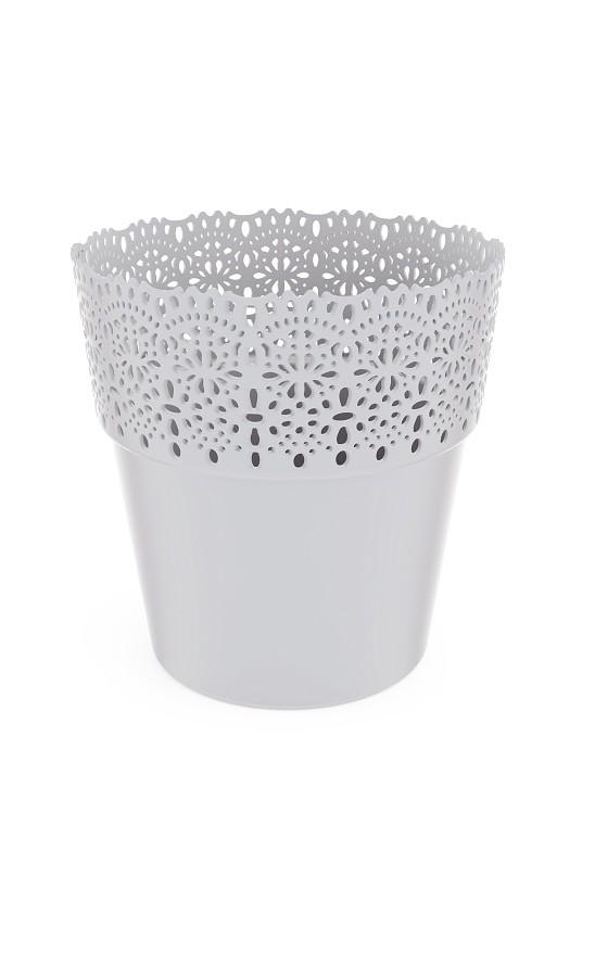 Plastový květináč Bella krajka 15x16cm Barva: světle šedá