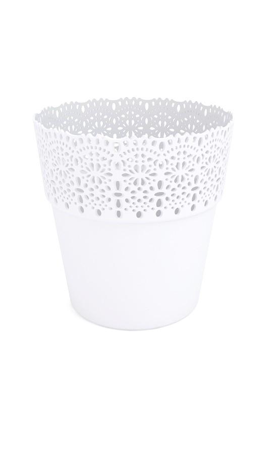 Plastový květináč Bella krajka 15x16cm Barva: bílá
