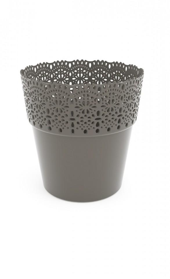 Plastový květináč Bella krajka 15x16cm Barva: šedá