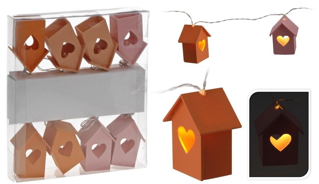 LED světelná girlanda domečky 170cm Barva: oranžová