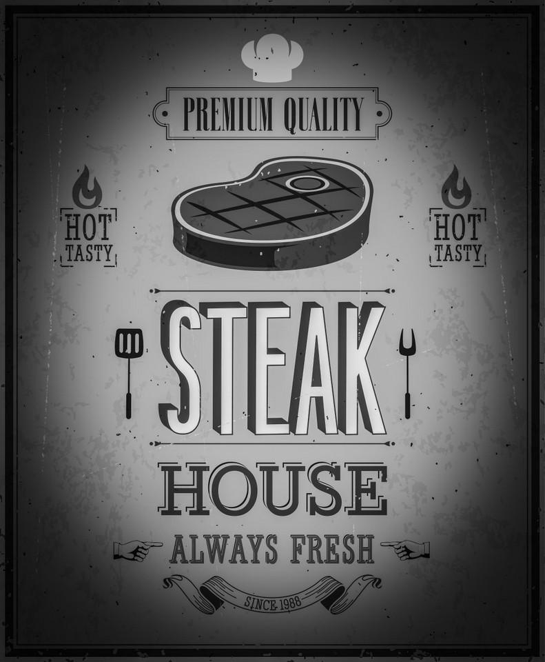 Nostalgic Art Deska Steak House Black and White 30x40 cm Rozměry: 30x40cm