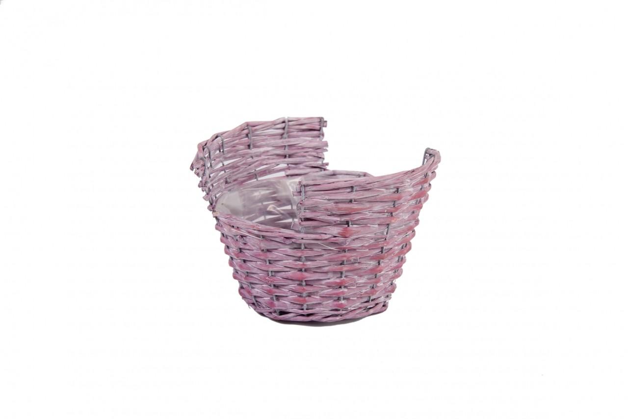 Obal na květiny proutěný košík 14x21cm Barva: růžová
