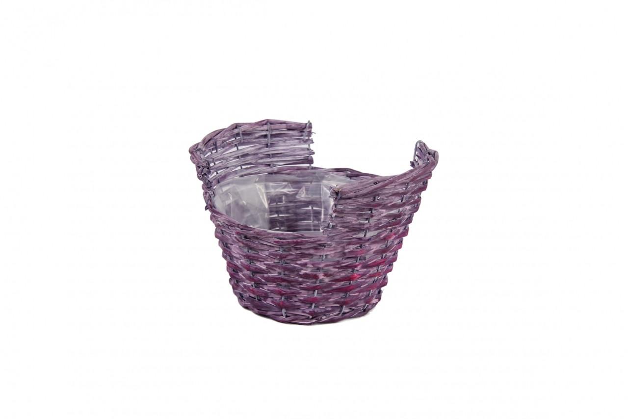 Obal na květiny proutěný košík 14x21cm Barva: fialová