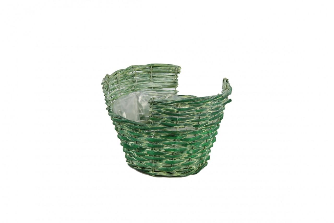 Obal na květiny proutěný košík 14x21cm Barva: zelená