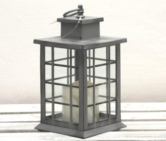 LED lucerna šedá s patinou 29cm
