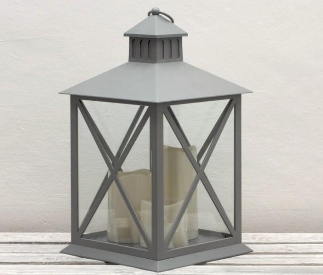 LED lucerna šedá 3 svíčky