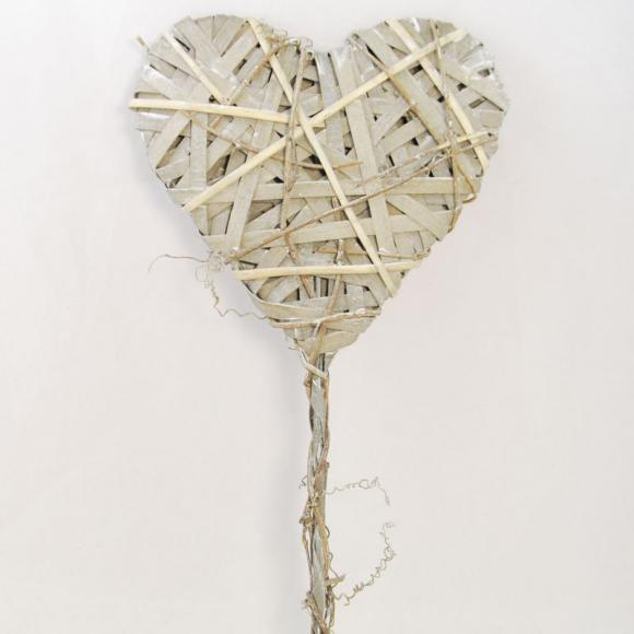 Proutěné srdce zápich 63x20cm
