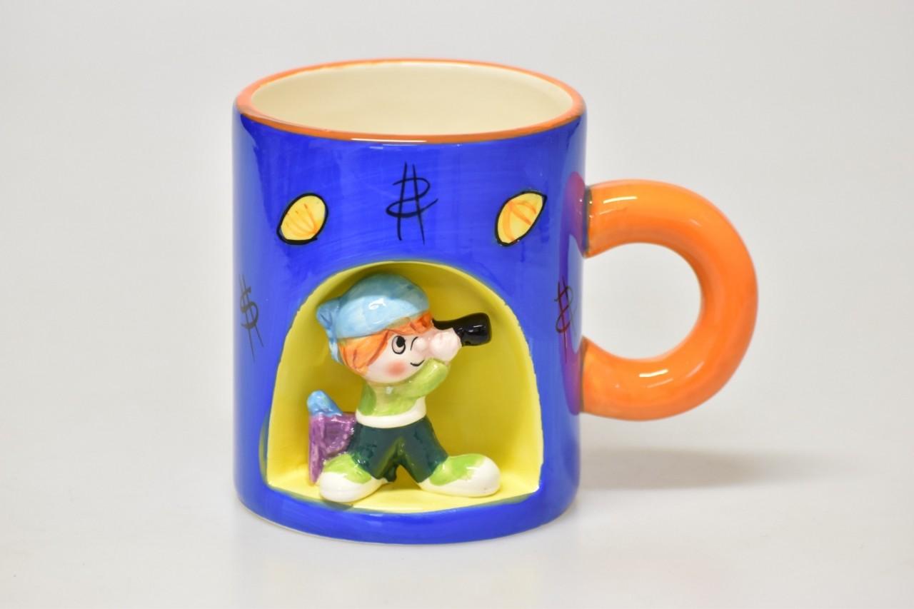 Hrnek dětský s postavičkou 10x9cm Barva: modrá
