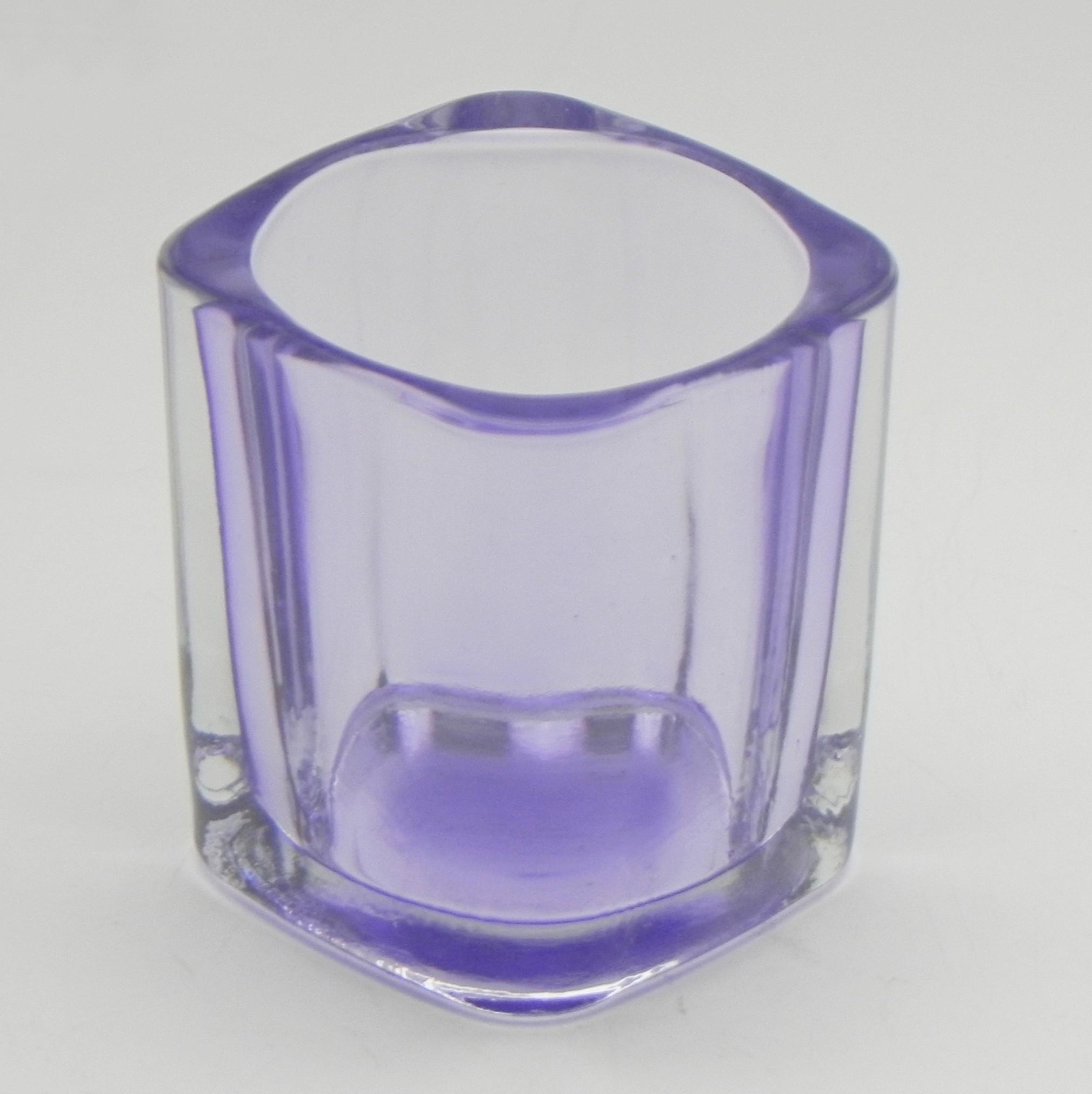 Svícen obdelník sklo 7x5cm Barva: fialová