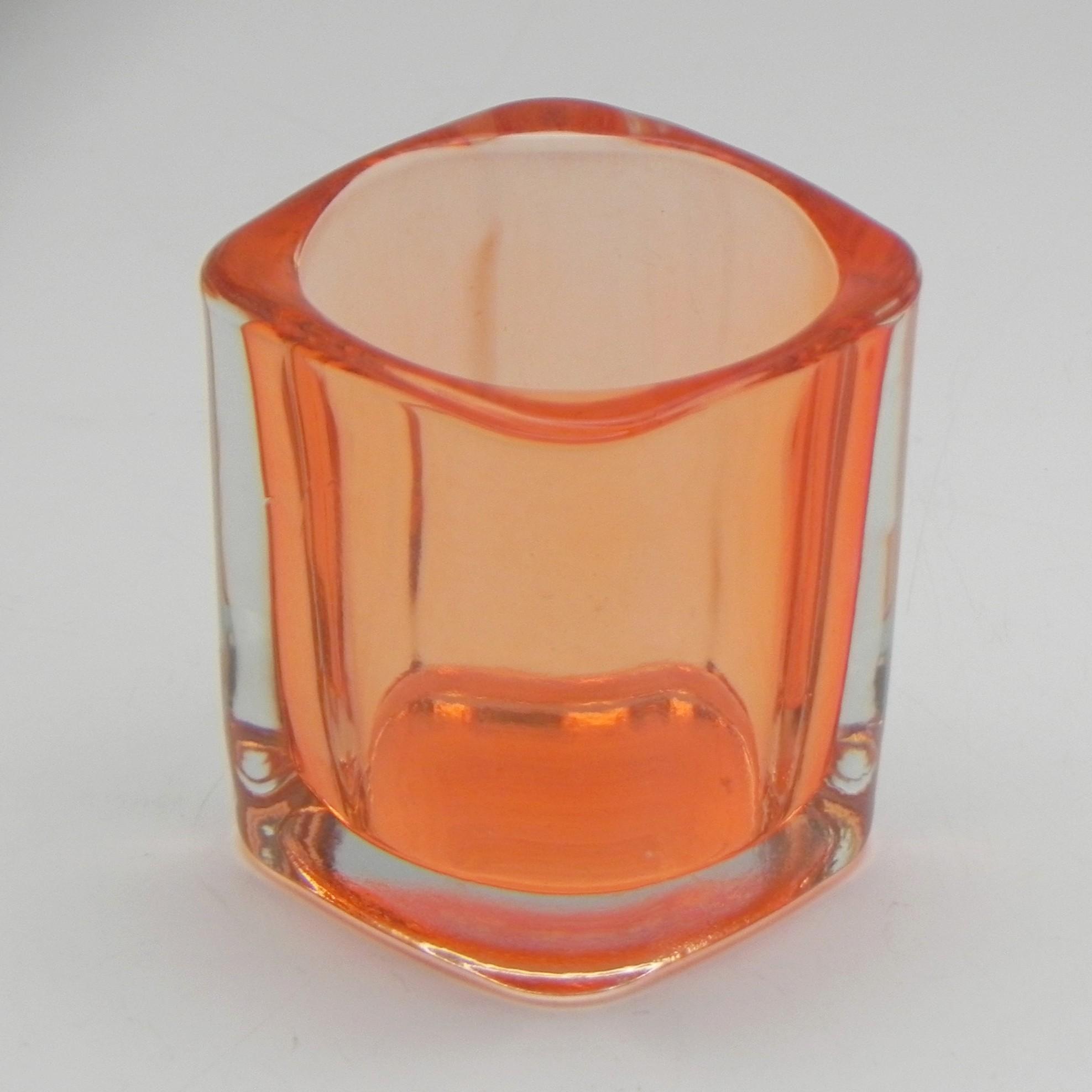 Svícen obdelník sklo 7x5cm Barva: oranžová