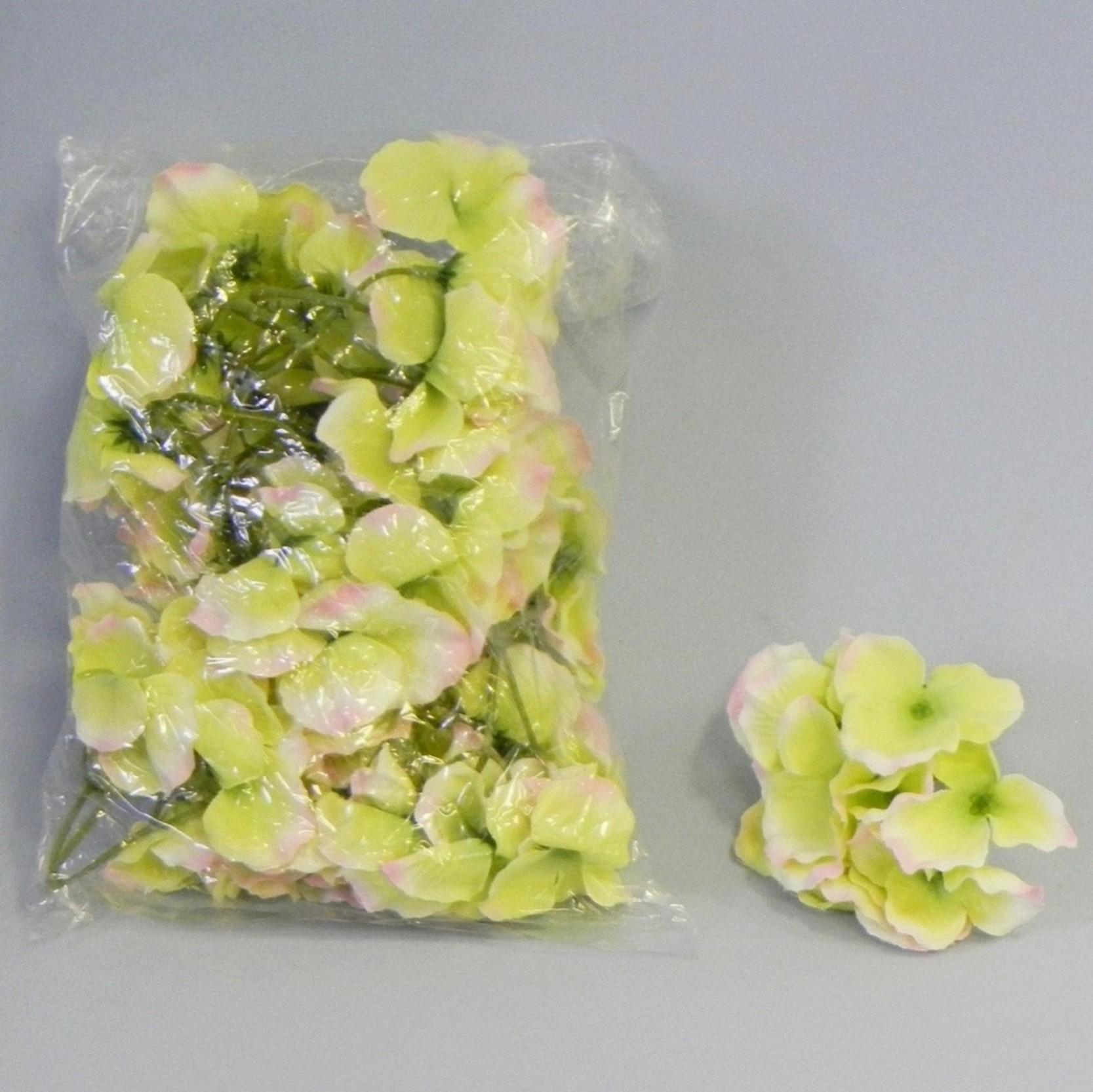 KLIA Umělý květ hortenzie 12ks Barva: žluto-zelená KA09050H/GP/ZLU