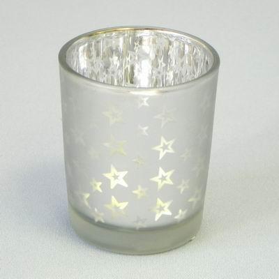 Svícen Vánoční sklo 7x6cm Barva: bílá