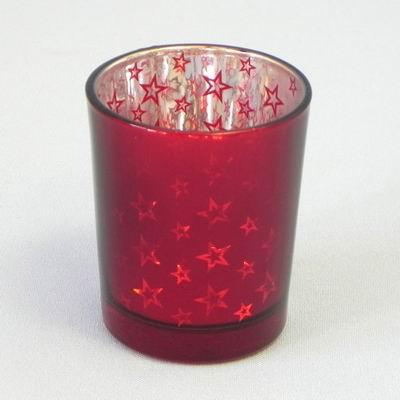 Svícen Vánoční sklo 7x6cm Barva: červená