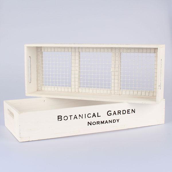Dřevěné přepravky s pletivem bílé, 2ks 52 × 9 × 22/49 × 9 × 11 cm