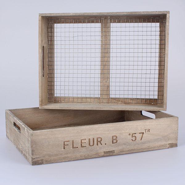 Dřevěné přepravky s pletivem FLEUR 2ks 43 × 9 × 33/40 × 8 × 30 cm