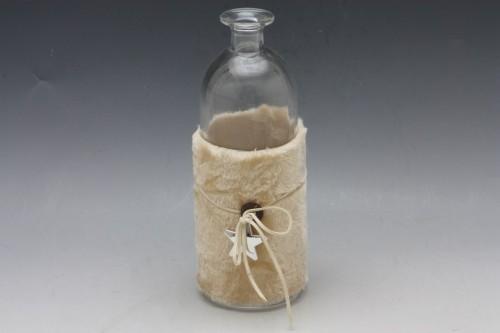 Váza lahev sklo Barva: bežová, Provedení: Menší