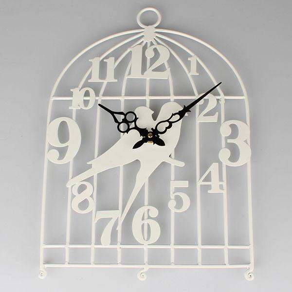 Casa de Engel Kovové hodiny ptáčci Barva: bílá