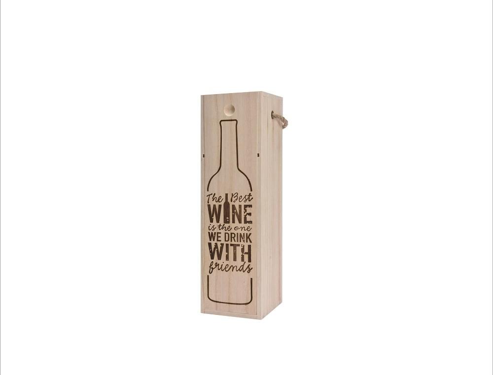 Bedýnka na víno dřevěná 34x10x10cm Provedení: C