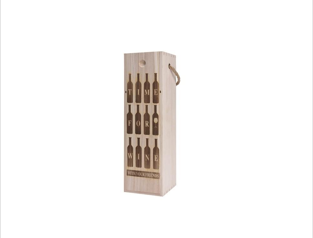 Bedýnka na víno dřevěná 34x10x10cm Provedení: B
