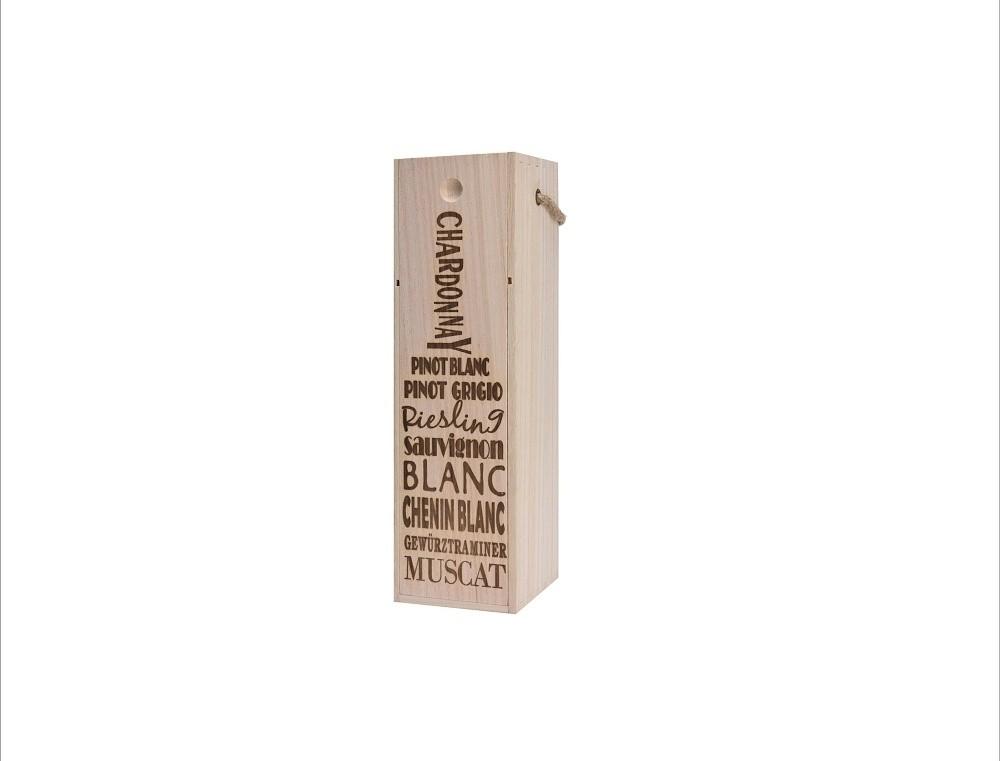 Bedýnka na víno dřevěná 34x10x10cm Provedení: A
