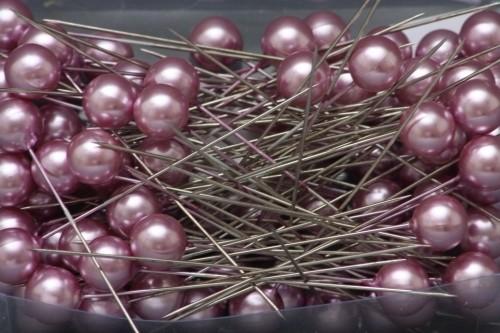 Špendlíky ozdobné s perlou Barva: fialová, Provedení: Menší