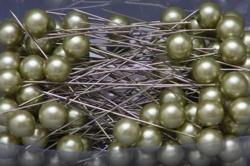 HR Špendlíky ozdobné s perlou Barva: zelená, Provedení: Větší