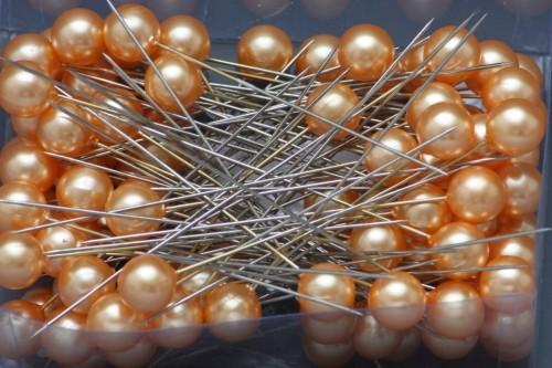 Špendlíky ozdobné s perlou Barva: oranžová, Provedení: Větší