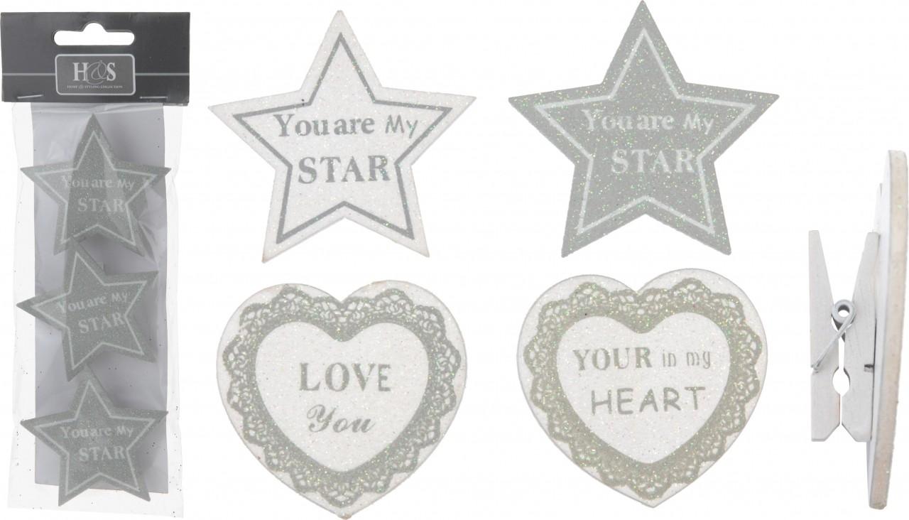 Ostatní Kolíček s dekorací srdce a hvězdy