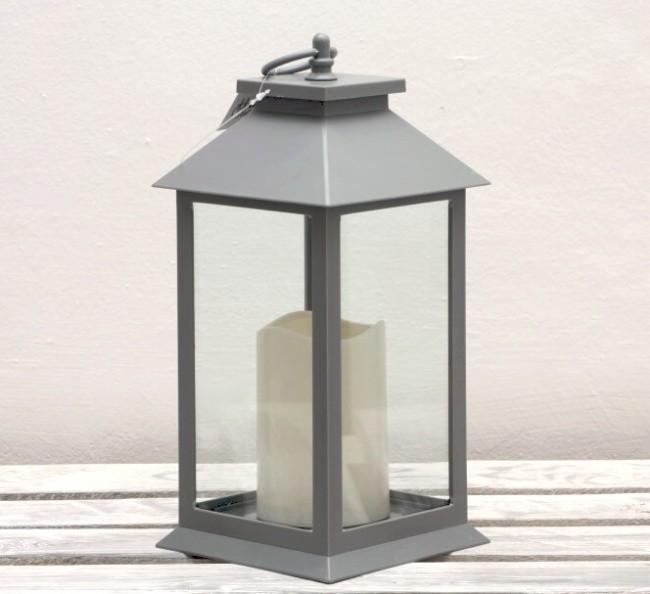 LED lucerna šedá jedna svíčka 33cm