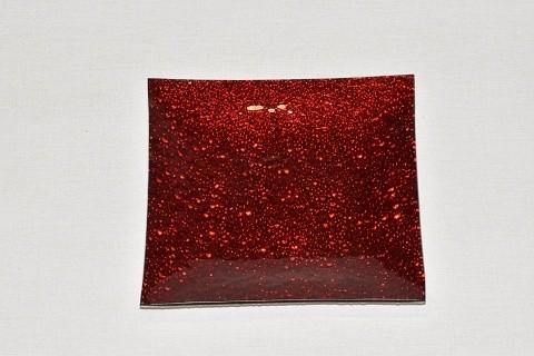 Tác skleněný červená mražená čtverec Velikost: malý