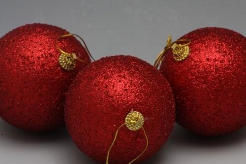 Vánoční koule se třpytkami 3ks Barva: červená