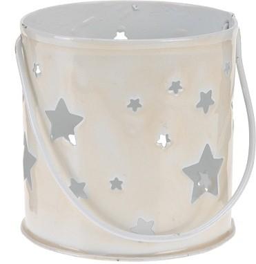 Svícen kovový s hvězdami béžová S motivem: motiv 2