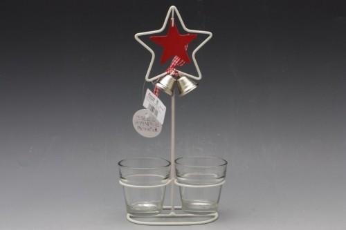 Svícen kovový se sklem hvězda Velikost: malý