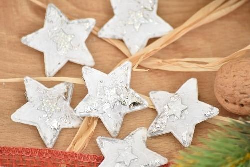 Dekorace vánoční s klipem 6ks 4x4cm Provedení: Hvězda