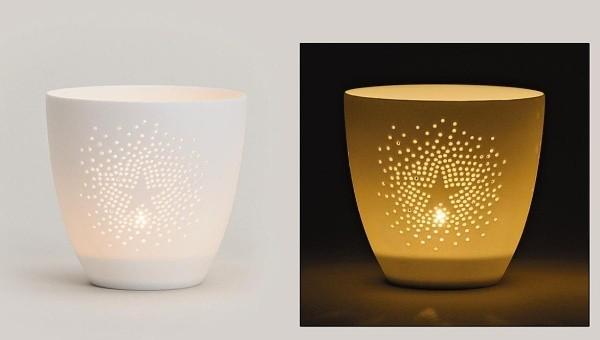Svícen porcelánový s hvězdou