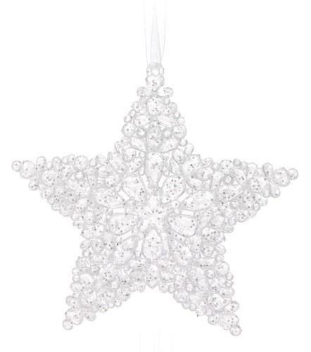 Vánoční dekorace plastová bílá 2ks S motivem: hvězda